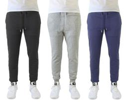 2 Pack of Mens Slim Fit Fleece Jogger Pants Active Sports wi