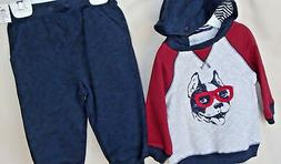 LITTLE ME 2 pc Navy & Burgandy DOG Hoodie Jogger Set BOY SIZ