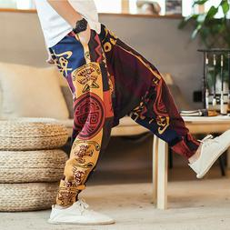 2019 Autumn Men Cotton Pockets Harem Pants Hip Hop <font><b>