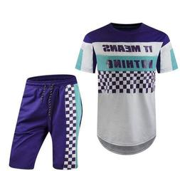 2pc Mens short Set Printed it Means Nothing Top Bottom Purpl