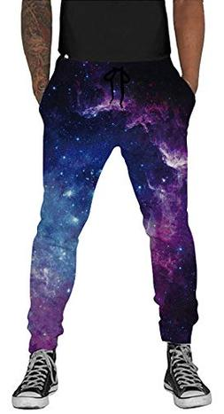Belovecol 3D Print Galaxy Graphic Sweatpants with Elastic Wa