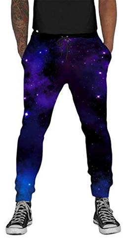 Belovecol 3D Printed Galaxy Sweatpants for Mens Women Gym Ca