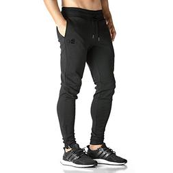 BROKIG Mens Zip Jogger Pants - Casual Gym Fitness Trousers C