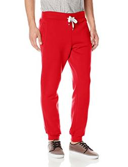 Southpole Men's Active Basic Jogger Fleece Pants, Red, Large
