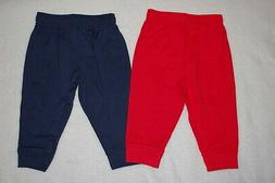 Baby Boys 2 PAIR LOT PANTS Lt Weight Knit Joggers NAVY BLUE