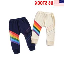 Baby Kid Boys girl Sports Pants Jogger RainbowBottom 100% Co