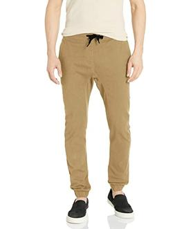 Southpole Men's Basic Stretch Twill Jogger Pants, Deep Khaki