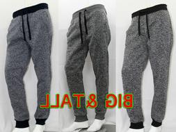BIG AND TALL SOUTHPOLE MEN MARLED FLEECE JOGGER PANTS
