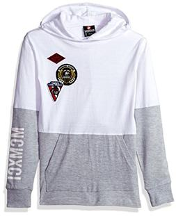 Southpole Boys' Big Long Sleeve Colorblock Patch Pullover wi