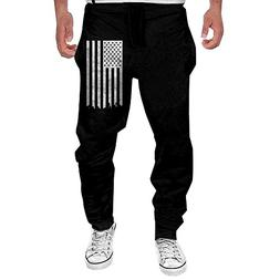 Big White American Flag Men's Active Basic Casual Sweatpants