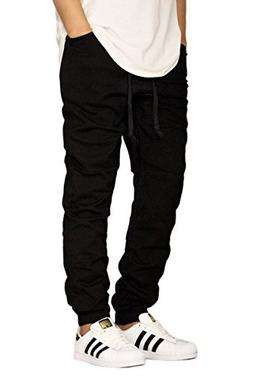MEN'S BLACK TWILL DROP CROTCH JOGGER PANTS