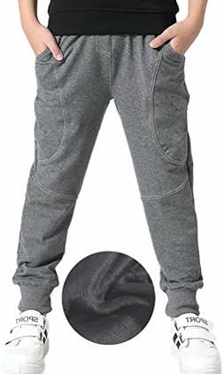Boys Fleeced Lined Thermal Thicken Sweatpants Jogger Pants G
