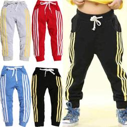 Boys Girls Children Sports Jogging Pants Fleece Joggers Kids