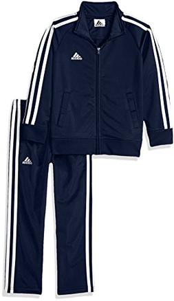 adidas Boys' Little Tricot Jacket and Pant Set, Navy/Whiteo,