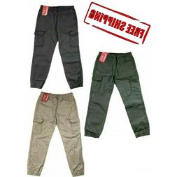 Unionbay Boys Youth Jogger Cargo Pull-On Cotton Pants Beige