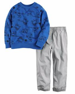 Carter's Boys' 2-Piece Dinosaur French Terry Top, Poplin Jog