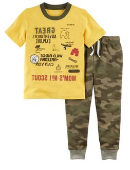 Carter's Toddler Boy 2-Piece Explorer Graphic Tee & Camo Jog