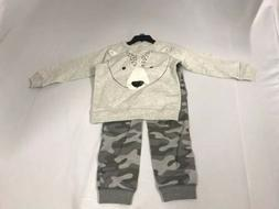 CARTER'S Toddler Boy's 2-Piece Bear shirt & Camo Jogger Set