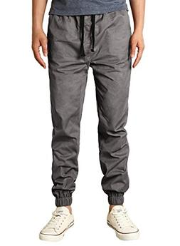 HEMOON Casual Joggers, Mens Regular Fit Twill Chino Jogger P