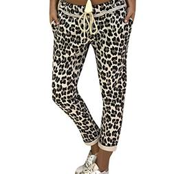 PASATO Womens Casual Leopard Print Ladies Beam Foot Sport Jo