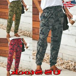 Casual Women Camouflage Joggers Pants Camo Printed Elastic W