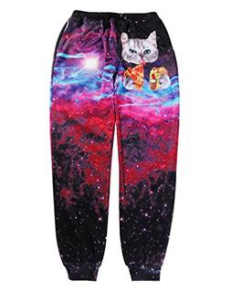 Dorathy Cat Space Galaxy 3D Printed Unisex Joggers Casual Pa