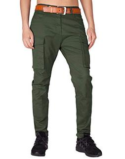 ITALY MORN Men's Chino Cargo Two Bellows Casual Pants S Army