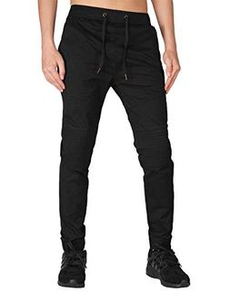 ITALY MORN Men's Chino Jogger Casual Pants S Black