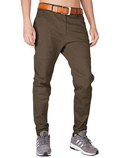 ITALY MORN Men's Chino Jogger Drop Crotch Flat Front Casual
