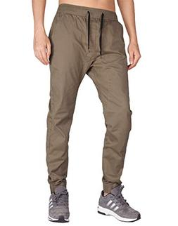 ITALY MORN Men's Chino Jogger Stretch Casual Pants S Timber