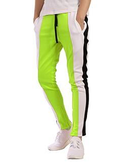 JD Apparel Men's Contrast Track Pants Joggers M Neon Yellow