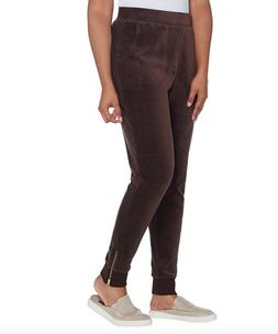 Denim & Co. Active Regular Velour Joggers with Zippers at Cu