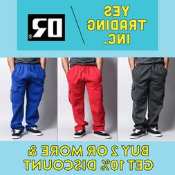 DR MENS PLAIN CARGO PANTS CASUAL SWEATPANTS HEAVYWEIGHT 5 PO