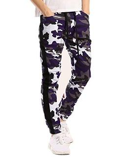 JD Apparel Mens Drop Crotch Camo Joggers with Stripe XL Purp