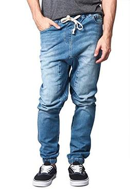 Victorious Mens Drop Crotch Jogger Denim Pants JG803 - LIGHT
