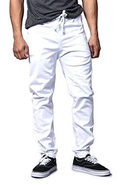 Victorious Mens Drop Crotch Jogger Twill Pants JG804 - WHITE