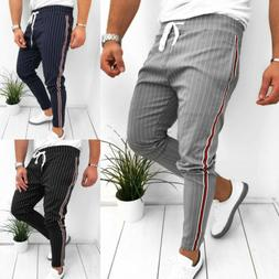 Fashion Men Striped Casual Pants Joggers Slim Fit Skinny Cas