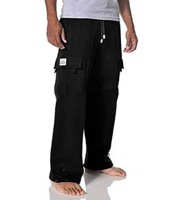 Pro Club Men's Heavyweight Fleece Cargo Pants, Large, Black