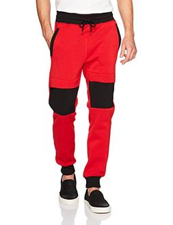 Southpole Men's Fashion Fleece Jogger Pants, Red/Two Way Col