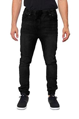 G-Style USA Mens Drop Crotch Jogger Denim Pants - BLACK - 2X
