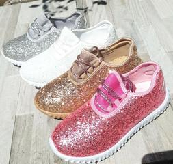 Girls Big Kids Tennis Shoes Glitter Sparkly Joggers Size 10-