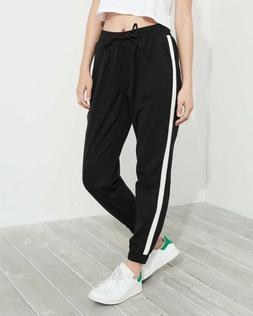 Hollister Girls High Rise Twill Joggers Black Size Large