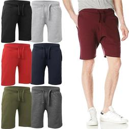 Mens Fleece Sweat SHORTS Casual Cotton Jogger Classic Fit Gy