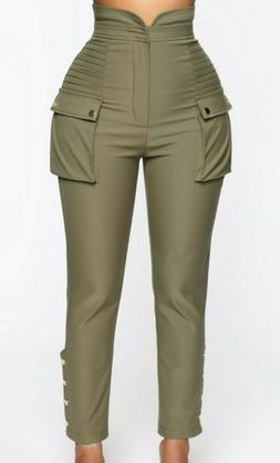 High Waisted Rise Pockets Casual Buttons Twill Cargo Pants O