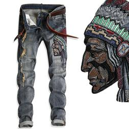 Indian embroidery Mens Jeans stretch Biker Trousers Slim Fit