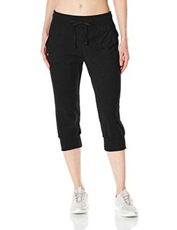 Champion Women's Jersey Banded Knee Pant, Black, Medium