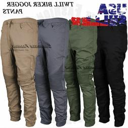 Mens Casual Jogger Pants Twill Biker Slim Fit Elastic Stretc