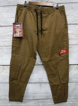 Plugg Joggers Mens Small Rum Brown Stretch Ripstop Pants w/
