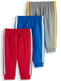 Garanimals Knit Retro-Stripe Joggers, 3pc Multi-Pack, 12 Mon