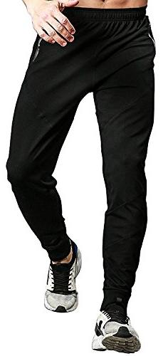 TBMPOY Men's Athletic Running Sport Jogger Pants with Zipper